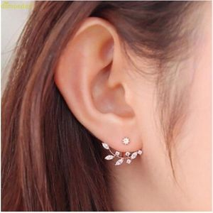 Gold Crystal Leaf Ear Jacket Studs